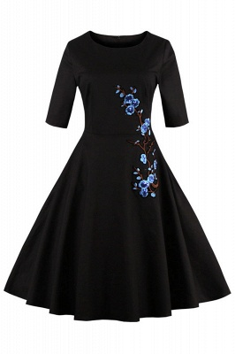 Vintage 1/2 Sleeve Wintersweet Embroidery Black Swing Dress_4