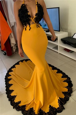 Seductive Deep V-neck Yellow Sweep Train Mermaid Prom Dresses_1