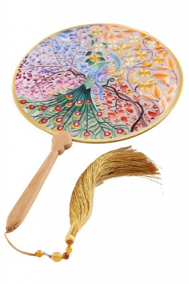 Chinese Retro Double-Sided Hand-Embroidered Handheld Fan With Tassel Pendant