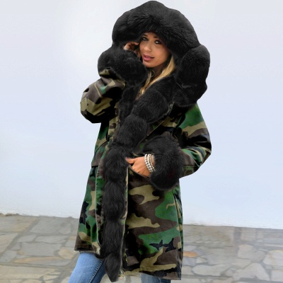 Camo Military Premium Fur Trim Parka Coat with Faux Fur Hood_7