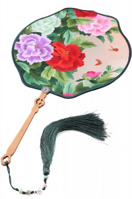 Chinese Classical Double-Sided Hand-Embroidered Round Fan With Tassel Pendant_1