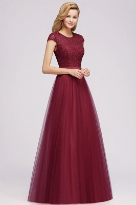 Cheap A-line Jewel Tulle Lace Bridesmaid Dress in Stock_8