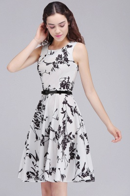 Sleeveless Belted Floral Printed Short Dress_5