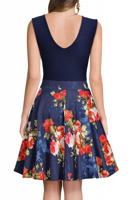 V-neck Sleeveless Above Knee Patchwork Dress_18