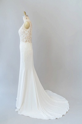 Cheap Floor Length Lace Chiffon Sheath Wedding Gowns_4