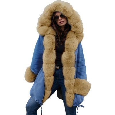 Parka Coat with Premium Fur Trim and Faux Fur Hood_49