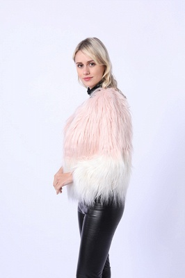 Women's Lovely Pink Faux Fur Duster Coat_5