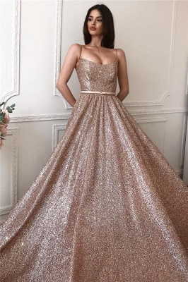 Sparkly A-line Spaghetti Straps Floor length Sequined Prom Dresses_1