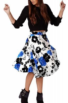 Retro A-line Floral?Printed Short Skirt_8