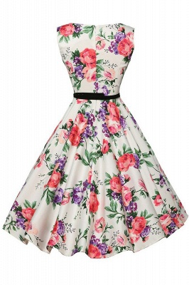 Sleeveless Belted Floral Printed Short Dress_9