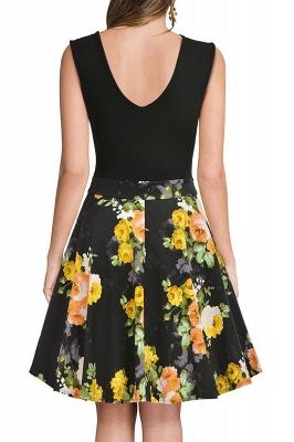 V-neck Sleeveless Above Knee Patchwork Dress_19
