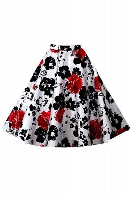 Retro A-line Floral?Printed Short Skirt_2