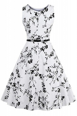 Sleeveless Belted Floral Printed Short Dress_10