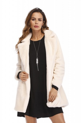 Yellow Stick Up Neckline Medium Long Fuzzy Coat_43