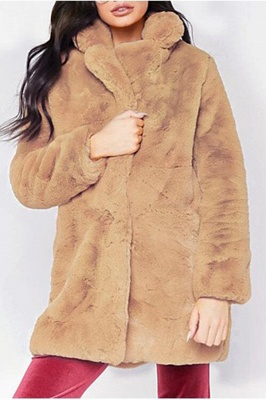 Yellow Stick Up Neckline Medium Long Fuzzy Coat_9