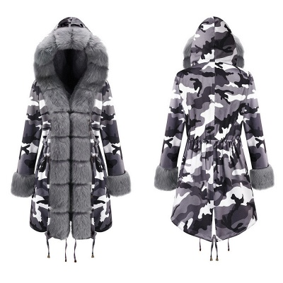 Camo Military Fur Lined Parka Coat with Faux Fur Hood_16