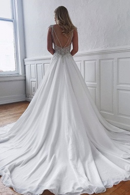 Glamorous Straps Beaded Appliques A-Line Wedding Dresses_2