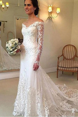 Court Train Applique Lace Sexy Mermaid Wedding Dresses | Gorgeous Long Sleeves Off-the-Shoulder Bridal Gowns_3