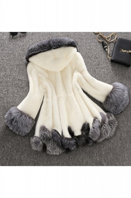 Women's Fashion Hooded White Fox Fur Coat_5