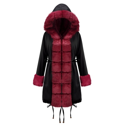 Premium Fur Trimmed Parka Coat with Faux Fur Hood_14