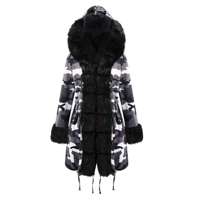 Camo Military Fur Lined Parka Coat with Faux Fur Hood_24