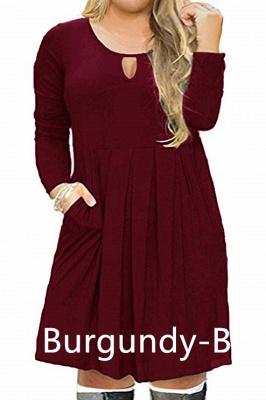 Plus Size Keyhole Neckline Simple Knee Length Dresses with Pockets_4