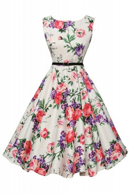 Sleeveless Belted Floral Printed Short Dress_2