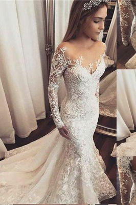 Fashionable Off-the-Shoulder Beaded Lace Appliques Wedding Dresse_2