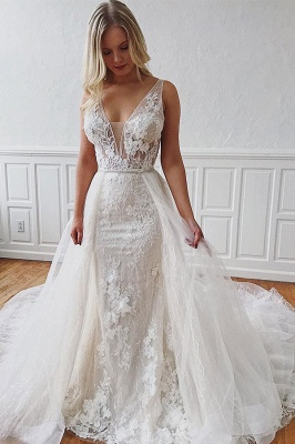 Glamorous Straps V-Neck Lace Mermaid Detachable Wedding Dresses_2