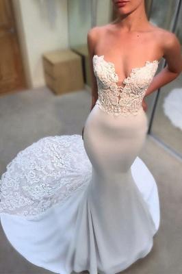 Simple Appliques Sleeveless Wedding Dresses | Mermaid Long Court Train Bridal Gowns_3