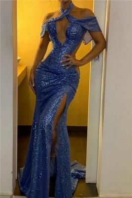 Shiny Halter Keyhole Side Slit Mermaid Prom Dresses_1