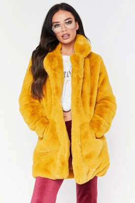 Yellow Stick Up Neckline Medium Long Fuzzy Coat_13
