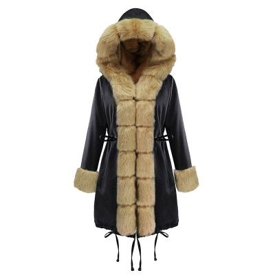 Premium Fur Trimmed Parka Coat with Faux Fur Hood_22