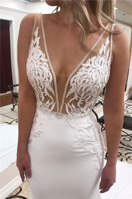 Glamorous Straps Appliques V-Neck Mermaid Wedding Dresses_2
