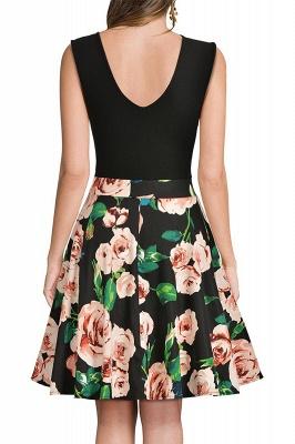 V-neck Sleeveless Above Knee Patchwork Dress_17