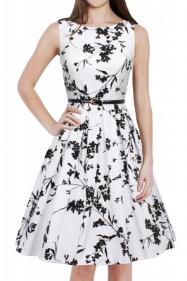 Sleeveless Belted Floral Printed Short Dress_11