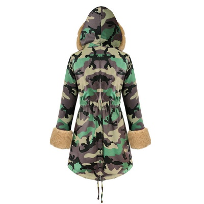 Camo Military Premium Fur Trim Parka Coat with Faux Fur Hood_35