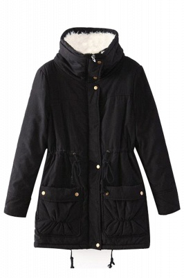 Women's Fashion Hunt Lamb Wool Collar Parka Coat_20