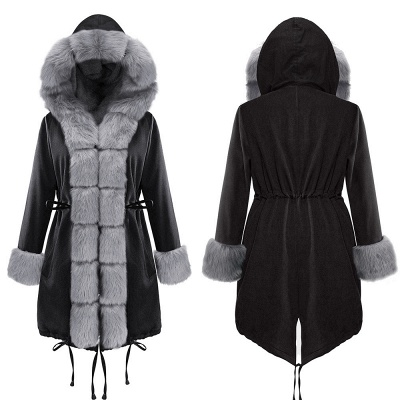 Premium Fur Trimmed Parka Coat with Faux Fur Hood_12