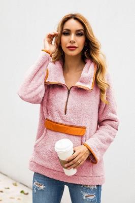 Women's Fall Winter Halp Zip Fuzzy Pullovers With Pockets_20