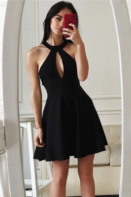 Sexy Black Keyhole Homecoming Dresses | Short Cocktail Dresses_1