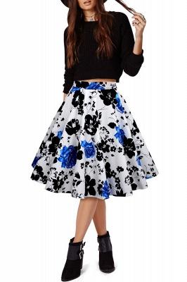 Retro A-line Floral?Printed Short Skirt_13