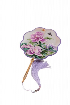 Classic Chinese Double-Sided Round Silk Embroidery Fan With Tassel Pendant