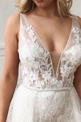 Glamorous Straps V-Neck Lace Mermaid Detachable Wedding Dresses_3