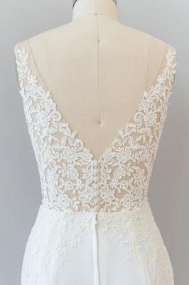 Cheap Floor Length Lace Chiffon Sheath Wedding Gowns_8