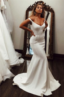 Off-the-shoulder Mermaid Wedding Dresses | Elegant Satin Bridal Gowns_1