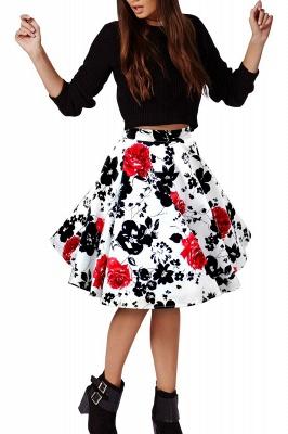 Retro A-line Floral?Printed Short Skirt_12