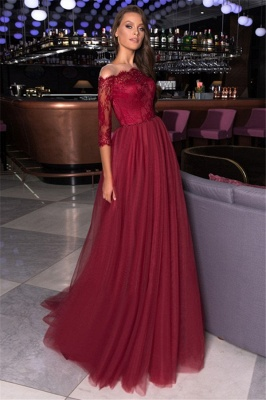 Gorgeous Off the Shoulder A-line Lace Tulle Prom Dresses_1