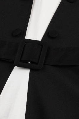 1950S Belted White and Black Patchwork Swing Dress_7