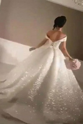 Glittery Ball Gown Wedding Dresses | Off-the-Shoulder Bridal Gowns_3